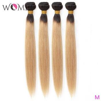 Wome Pre-Colored 4 Bundles Brazilian Hair Ombre Cheap Straight Hair 4 Bundles 10-26 inch 100% Human Hair Weave T1b/27 Ombre Hair