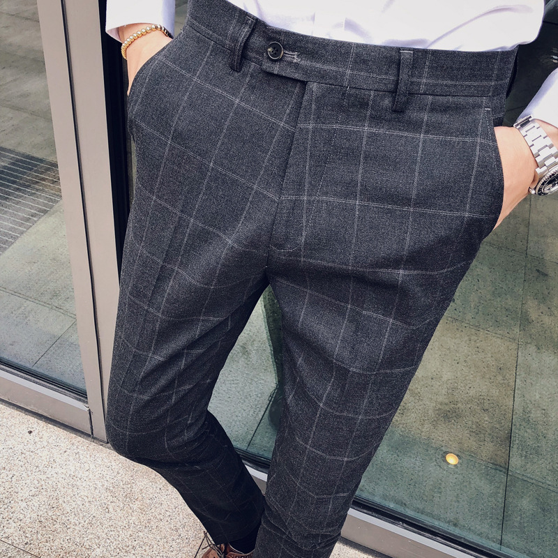 2018 Autumn And Winter New Style Trend British Style Men Korean-style Slim Fit Casual Trousers Skinny Suit Pants