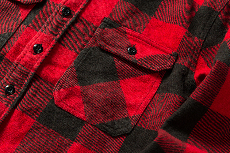 H4e185c1a6d0e41a6a8c15cba359e0bc18 100% cotton heavy weight retro vintage classic red black spring autumn winter long sleeve plaid shirt for men women