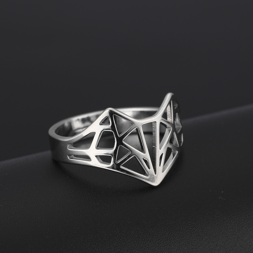 Skyrim Origami Fox Ring Stainless Steel Casual Resizable Gold Color Finger Rings Jewelry Wedding Band Anniversary Gift for Women