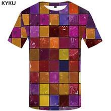 KYKU Brand Tetris T-shirt Men RubikS Cube Tshirts Casual Russia Funny T shirts Colorful Shirt Print Geometric T-shirts 3d