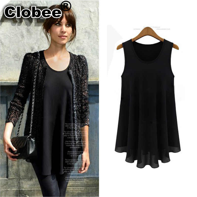 Clobee kadın şifon bluz Camisa Feminina sosyal yaz tankı roupa tunik Ruffles kolsuz artı boyutu Blusas Feminina Tops