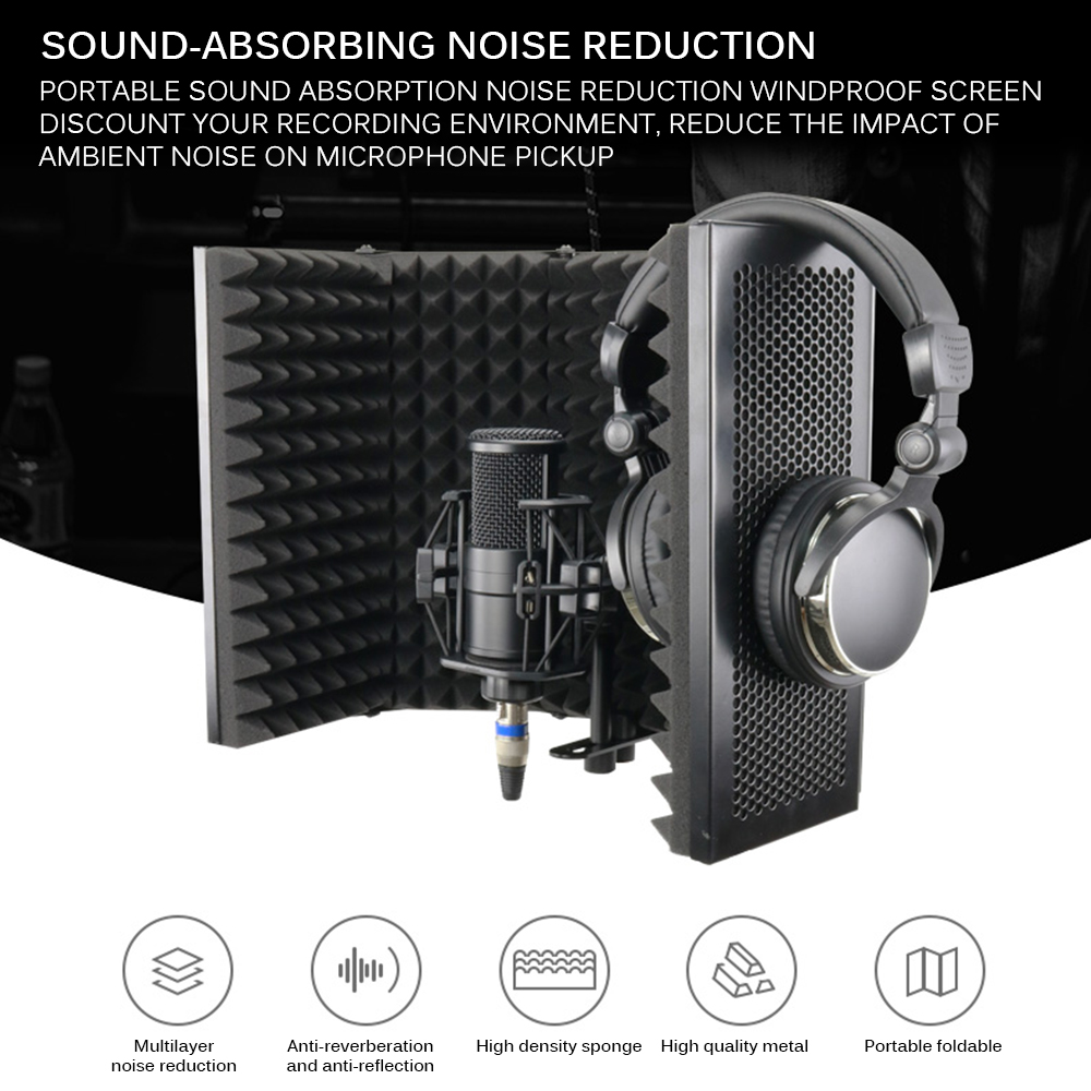 Foldable Microphone Acoustic Isolation Shield Alloy Acoustic Foams Panel Studio Recording Studio Microphone Accessories
