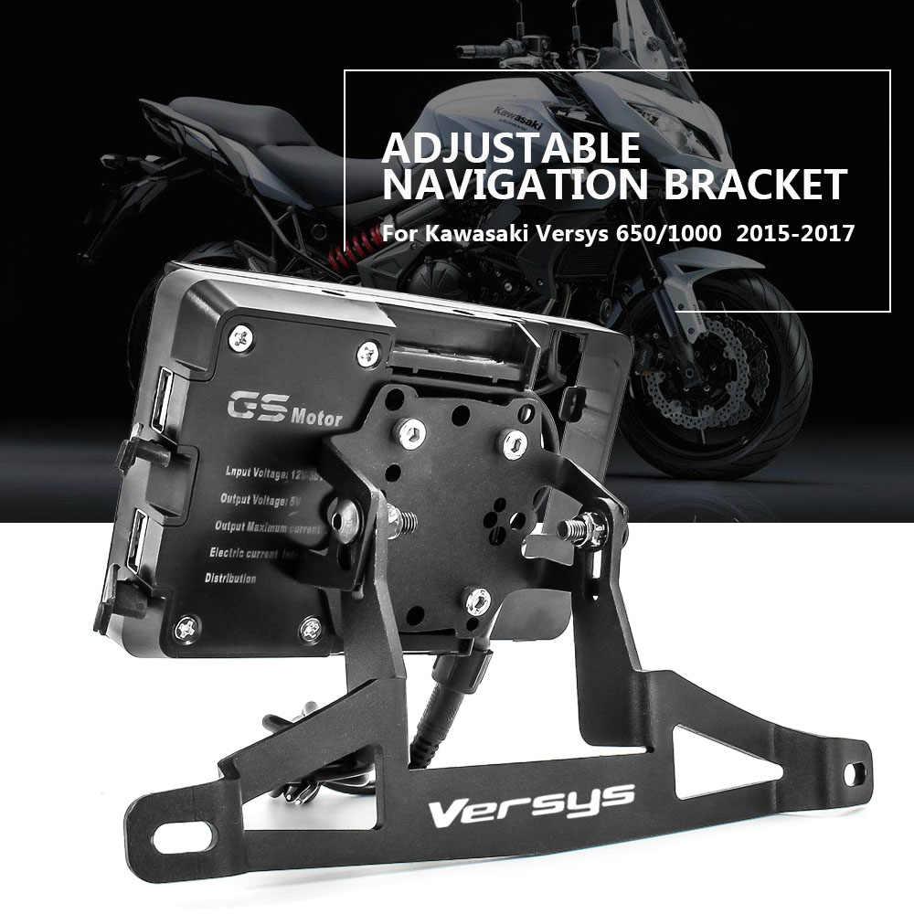 QIDIAN Soporte de navegaci/ón GPS modificado para motocicleta Kawasaki Versys1000 Versys 1000 2017 2018 Soporte de montaje para tel/éfono m/óvil Accesorios