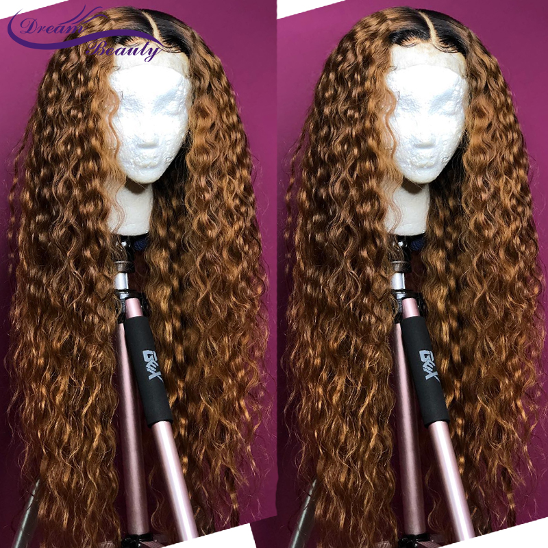 H4e18bc7fe576420fa9fb4c2986c168887 Ombre Blonde Curly Wig 13x4 Lace Front Human Hair Wigs Pre Plucked Ombre 1B/27 Color Brazilian Remy Hair Baby Hair Dream Beauty
