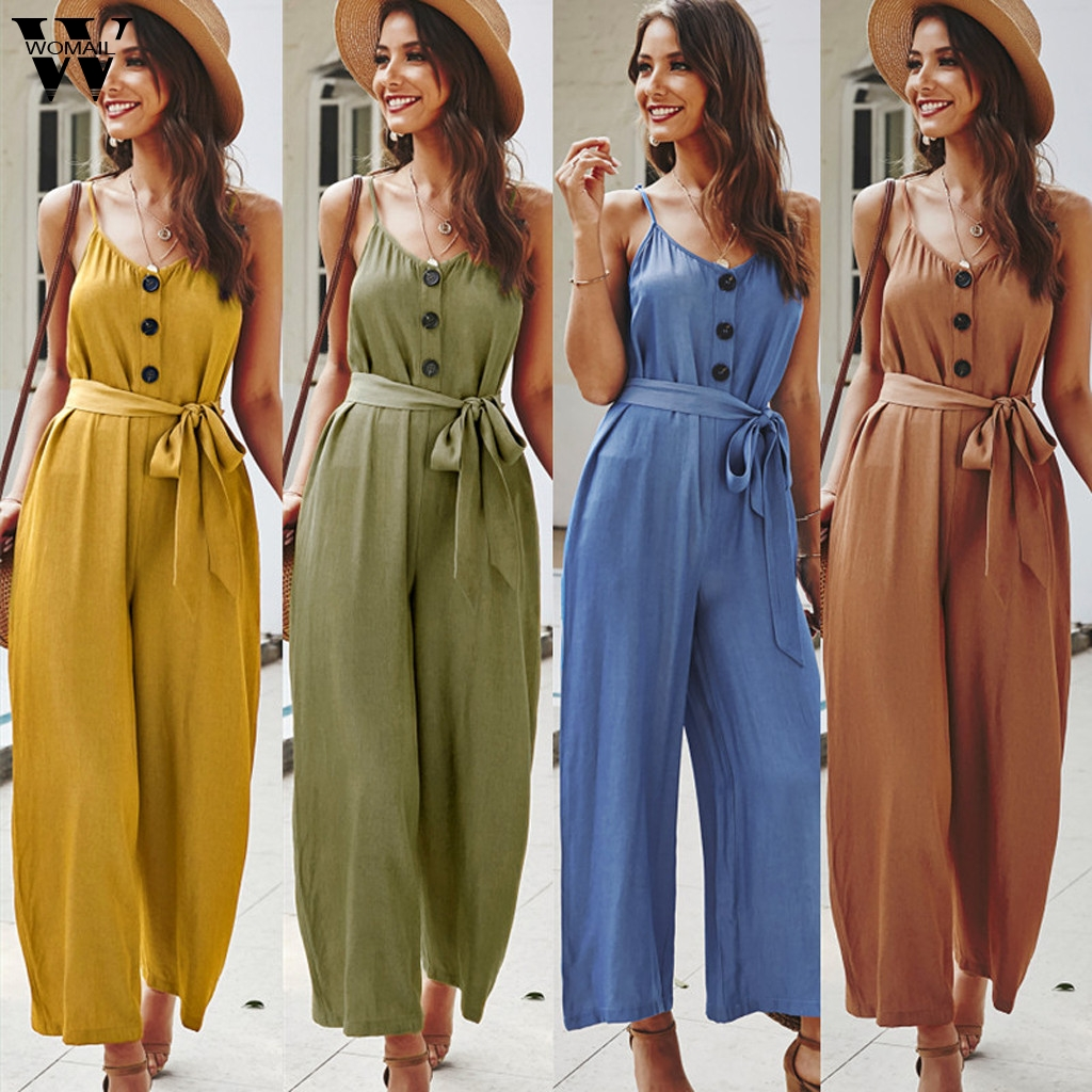 Womail Jumpsuit Women Fashion Summer Romper Button Sleeveless Solid Casual Beach Party Loose Wide Leg Long Pant Trousers Holiday