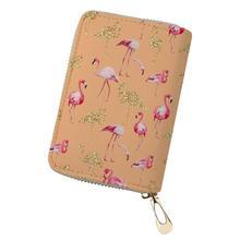HaoYun Women Business PU Card Holder Flamingos Printing Pattern Girls Money Purses Bags Fashion Cluth Travel Wallets