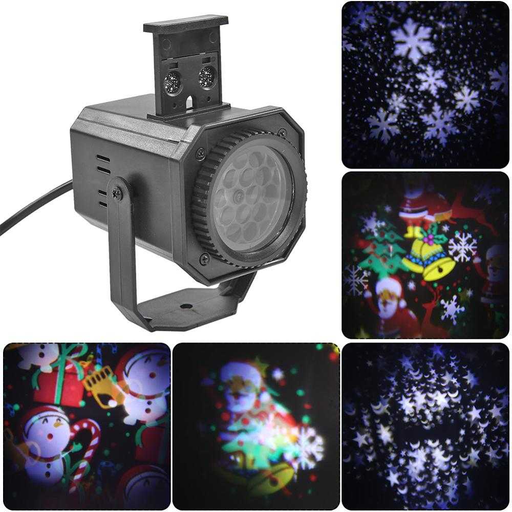 Christmas Pattern LED Laser Projector Colorful Rotating Stage DJ Disco Lamp Festival Party Decoration Night Lamp Projector Light