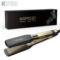 KIPOZI-전문 티타늄 플랫 아이언 헤어 스트레이트너, 디지털 LCD 디스플레이 듀얼 전압 인스턴트 히팅 컬링 아이론