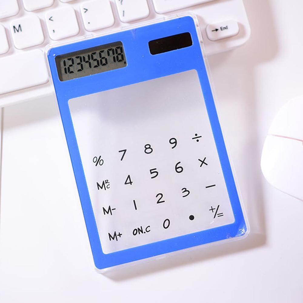 Полезные ЖК-дисплей 8-значный Экран ультра тонкий прозрачный Ясно солнечной CalculatorStationery научный калькулятор для офиса - Цвет: B