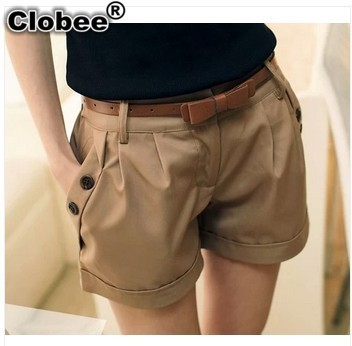 Shorts Black Autumn Plus-Size Women Summer Hot Khaki Spring Formal Work-Wear Office Size-S-6xl