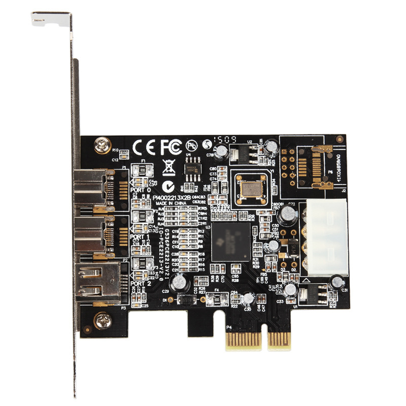 <font><b>PCI</b></font> E To <font><b>IEEE</b></font> <font><b>1394</b></font> Adapter 3 Ports 1394A x 1+1394B x 2 <font><b>PCI</b></font> Express Expansion Card Plug and Play for Desktop PC image