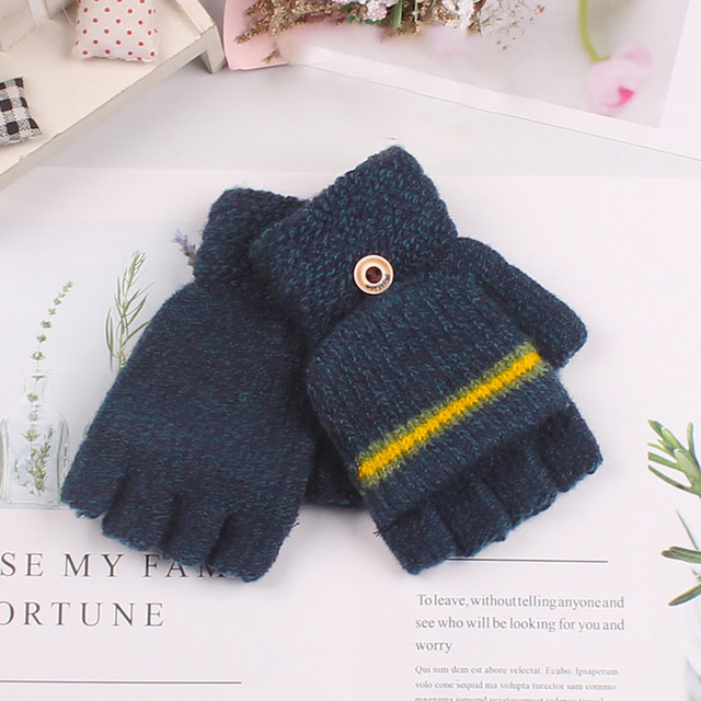 Finger Warm Children Thick Half Finger Flip Cover Kids Gloves Knitting Mittens