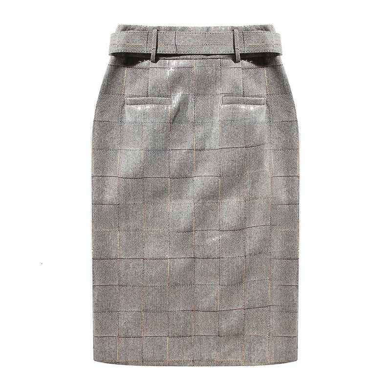 [EAM] High Waist Plaid Sequins Split Joint Temperament Vent Half-body Skirt Women Fashion Tide New Spring Autumn 2019 1H700 1