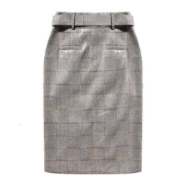 [EAM] High Waist Plaid Sequins Split Joint Temperament Vent Half-body Skirt Women Fashion Tide New Spring Autumn 2019 1H700 1