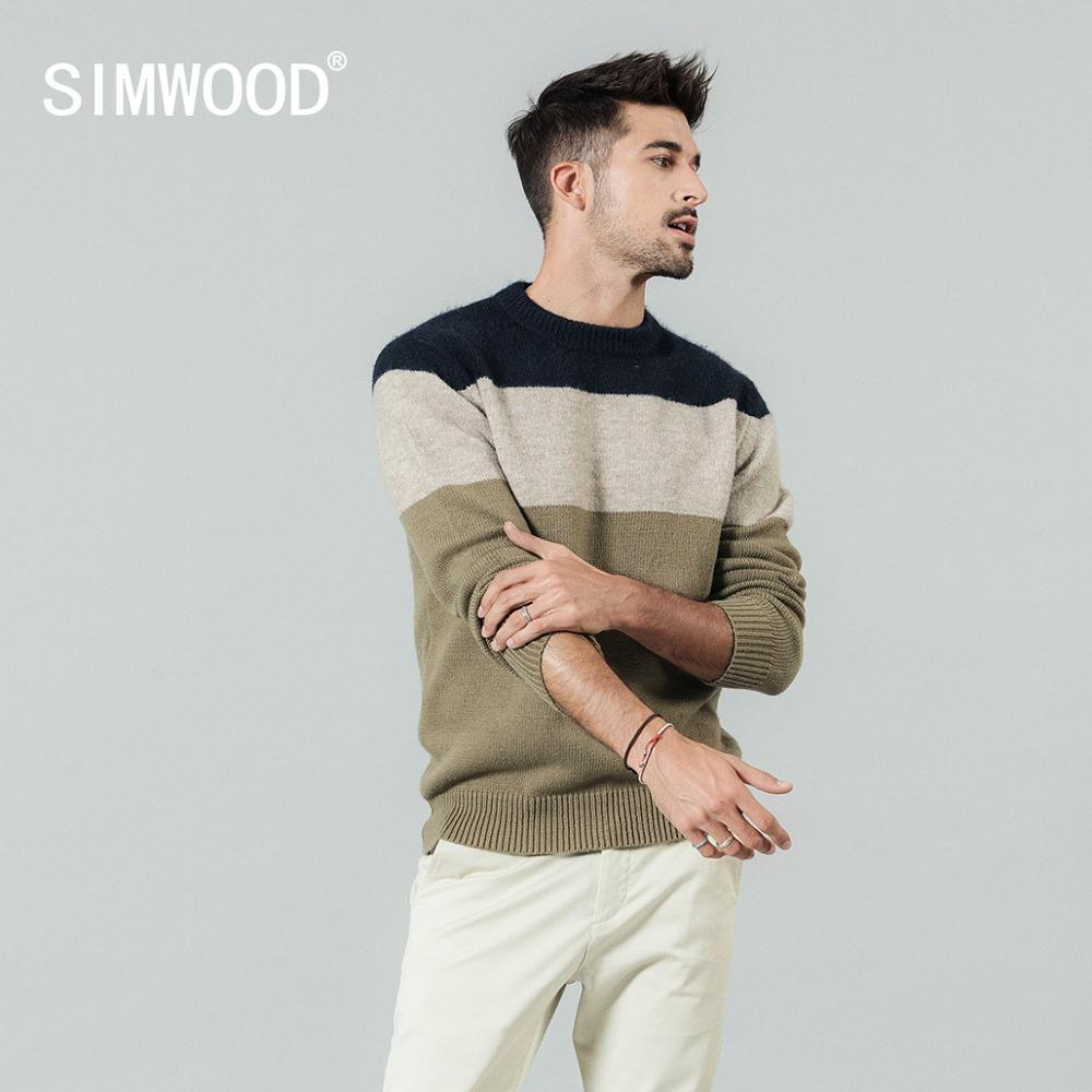 SIMWOOD Color-block Sweater Men Casual Knitwear Plus Size O-neck Texture High Quality Brand Clothing Pullover Sweaters 190414