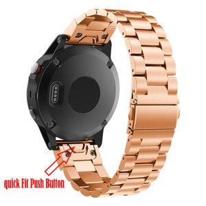Image 2 - 26 22 20 mm libération rapide facile ajustement acier inoxydable montre bracelet bracelet pour Garmin Fenix 6 6X 5 5X 5s 3HR D2 Mk1 montre intelligente
