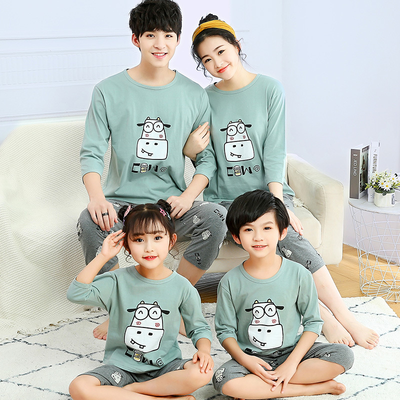 Mommy and Daughter Matching Outfits Pajamas Family Look Mother Daughter Son Homewear Animal Pyjamas Kids Mommy And Me Clothes 4
