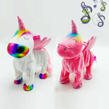 Electronic Plush Smile Unicornio Toys Musical Rainbow Horse Dancing Walking Stuffed Animals Christmas New Year Gift for Children(China)