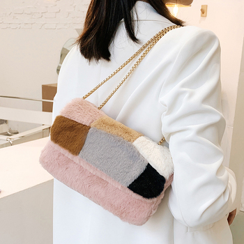 High Quality Faux Fur Women Shoulder Bag Fashion Designer Small Crossbody Bags for Women Casual Female Chain Messenger Bags New image