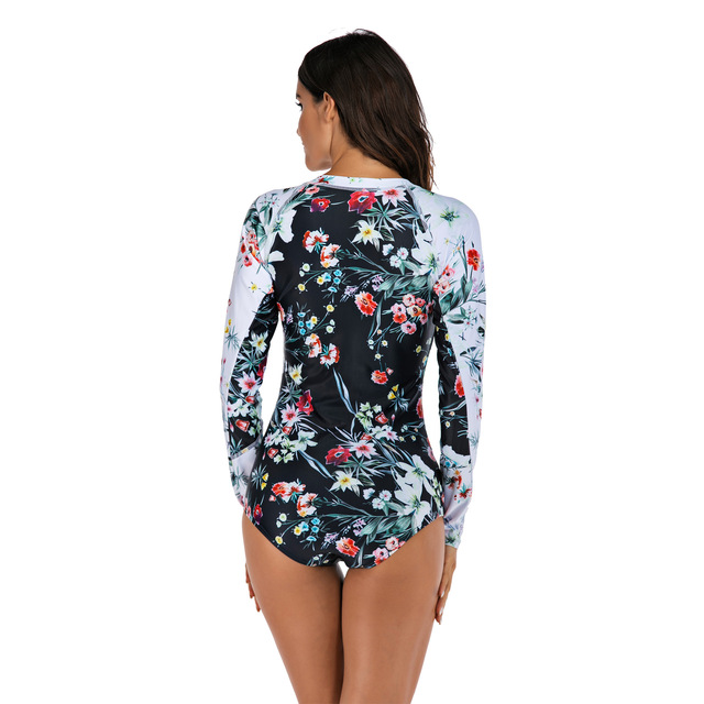 Women Long Sleeve Floral Print Zipper One Piece Swim Bathing Suit Surf Suit Wetsuit Swimwear 5