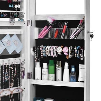 Mirror Jewelry Cabinet Full Screen Display jewelry Armoire Organizer 47 2 H Lockable Wall Door
