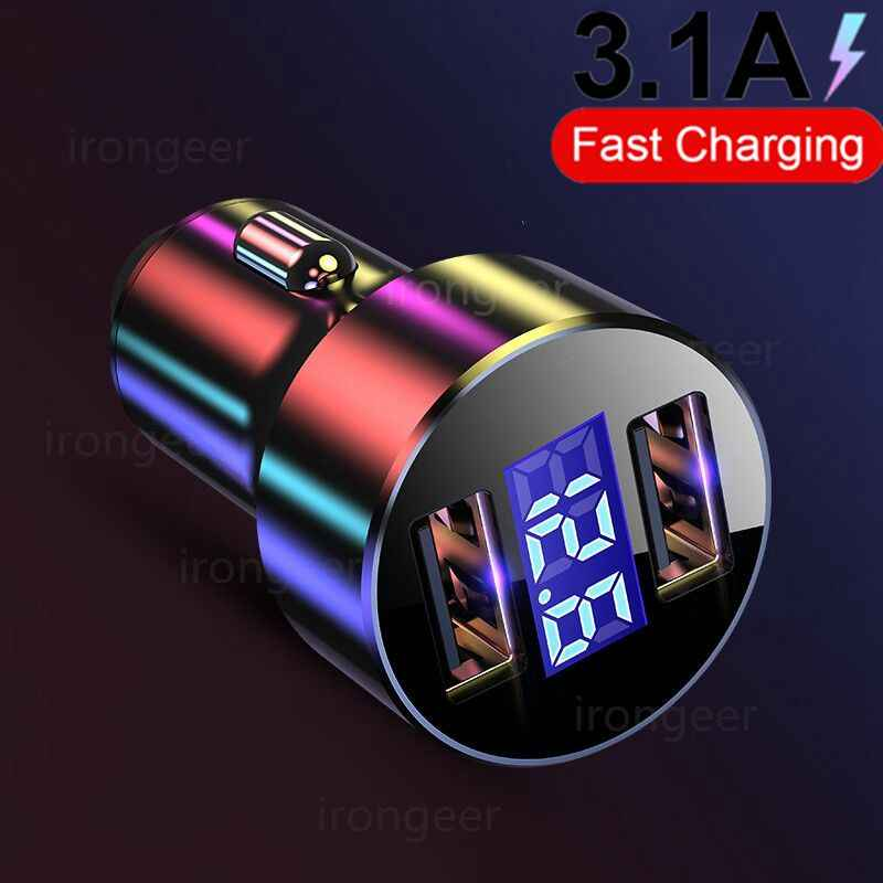 3.1A LED Display USB Ponsel Charger Mobil Charger untuk Xiaomi Samsung untuk iPhone 11 Pro 7 Plus Ponsel telepon Usb Charger Mobil
