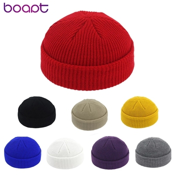 New Uni Beanie Hat Ribbed Knitted Cuffed Winter Hat Warm Short Beanie Casual Solid Color Skullcap Baggy For  Men Beanie