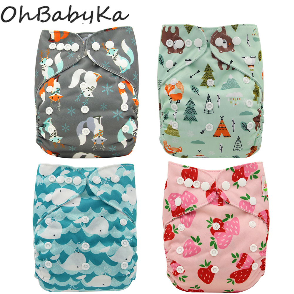 Ohbabyka Washable Diapers Wrap Couches Eco-Friendly title=