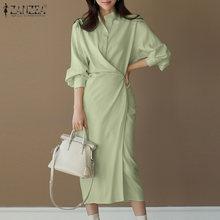 ZANZEA Women Spring Long Sleeve Vestidos Casual Elegant Work OL Shirt Dress O Neck Button Plain Maxi Dresses Female Lace UP Robe