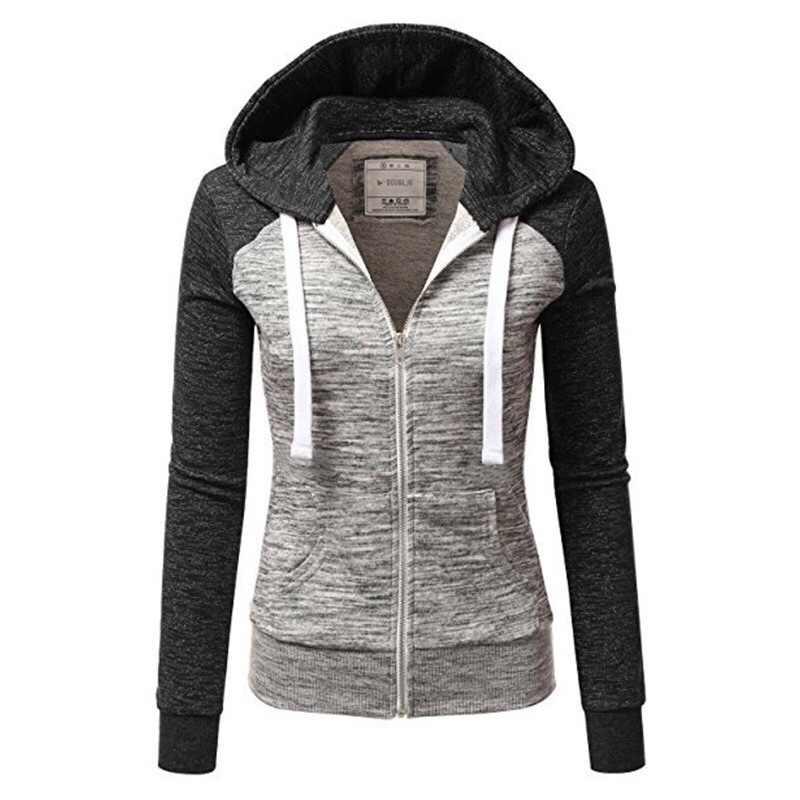 Frauen Sweatshirts Herbst Winter Hoodies Langarm Hoody Damen Zipper Tasche Patchwork Mit Kapuze Sweatshirt Weibliche Outwear