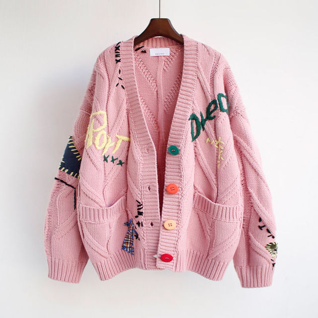 2020 Autumn Winter Women Cardigan Warm Knitted Sweater Jacket Pocket Embroidery Fashion Knit Cardigans Coat Lady Loose Sweaters 3