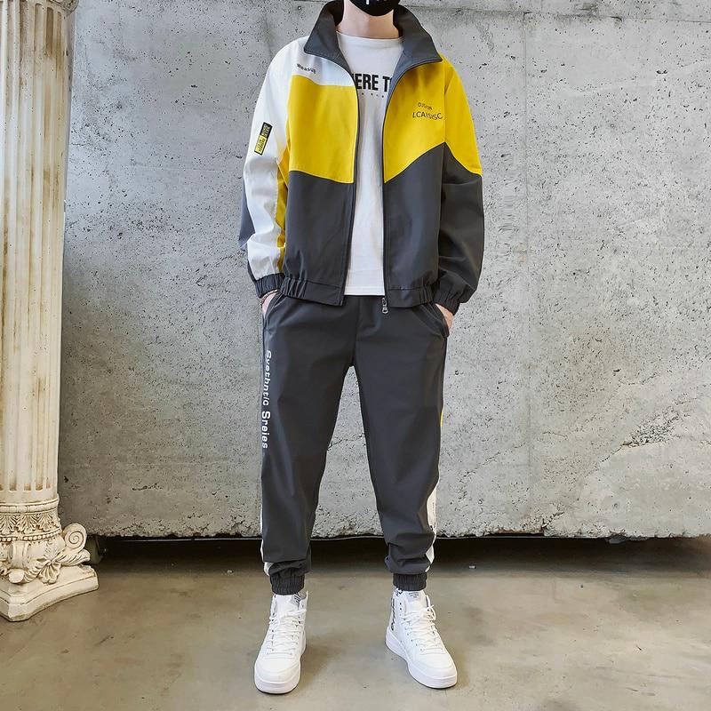 Autumn Sportswear Set Men Polyester Hip Hop Waterproof Tracksuit Jacket Mens Tuta Sportiva Uomo Men Set Fashion Winter HH50TZ