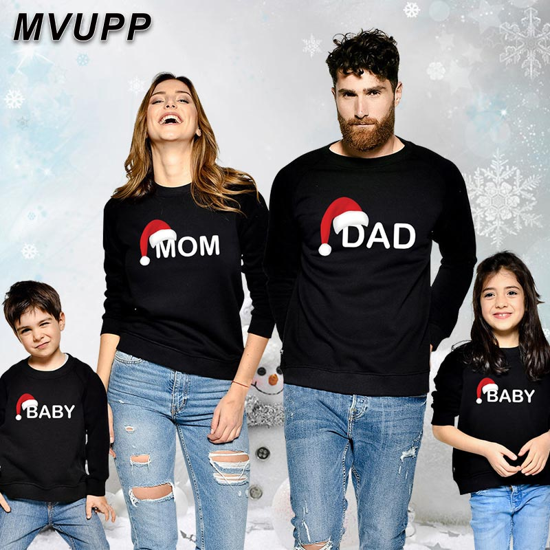 Family Matching Clothes Dad Son Mom Daughter Hoodies Baby Kids Christmas Sets Cotton Letter Winter Clothes Girls Mommy And Me