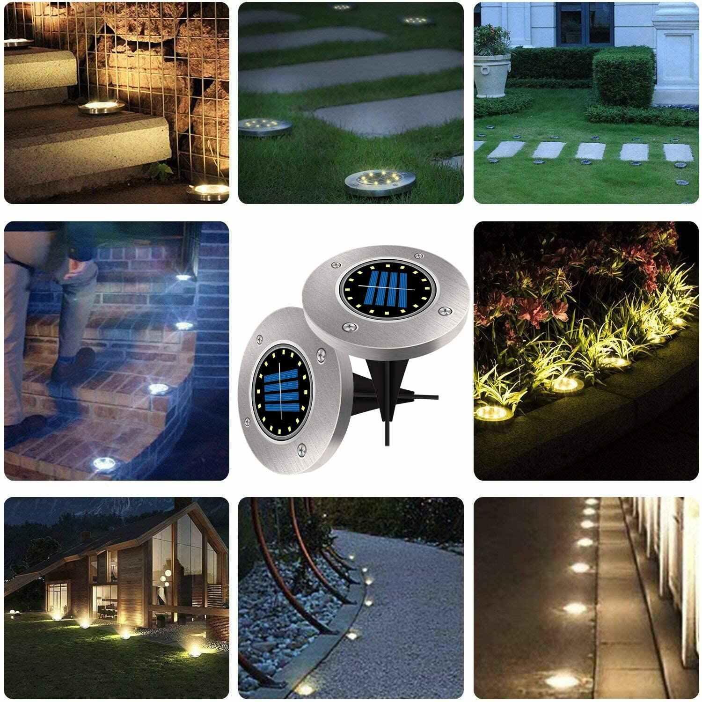 12 パックソーラー地面ライト防水ガーデン経路デッキライト 16/20 ledソーラーランプ家庭用ヤード私道芝生