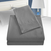 Household Easy Care Smooth Bedroom Modern Polyester Breathable Gift Fitted Cover Soft Bedding Set Flat Sheet Pillow Case Solid