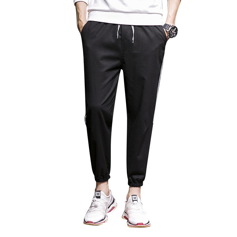 Men's Summer Korean Version Trend Thin Section Sports Solid Color Pants Nine-minute Leg Pants Loose Casual Youth Men's Wear