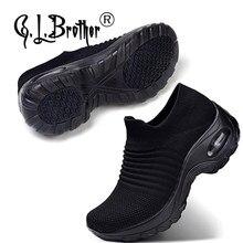 G. l. brother tênis para mulher com palmilhas ortopédicas sapatos de caminhada calçados femininos moda conforto cunha plataforma mocassins
