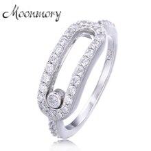 Moonmory, европейский стиль, ювелирное изделие, Стерлинговое Серебро 925 пробы, свадебные кольца для женщин, серебряная луна, Женское кольцо с тройным камнем, оптовая продажа