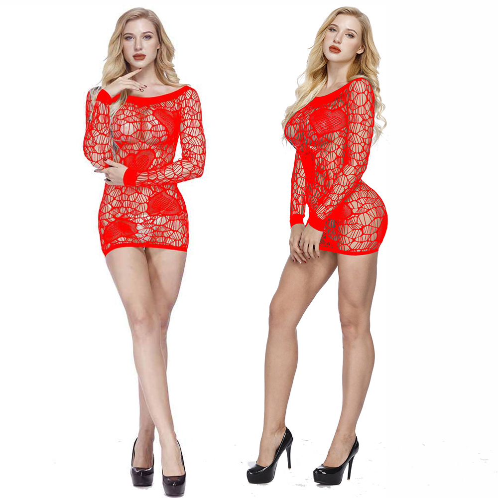 VATINE Temptation Sexy Lingerie Erotic Dress Transparent Sleepwear Long Sleeves Hollow Sexy One-piece Mesh Clothing Costumes