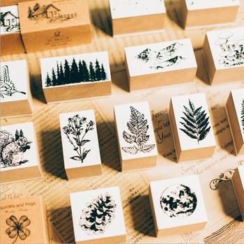 1pc Vintage Jungle Series Wood Rubber Stamps For Scrapbooking Stationery DIY Scrapbooking Standard Wooden Stamp Planner