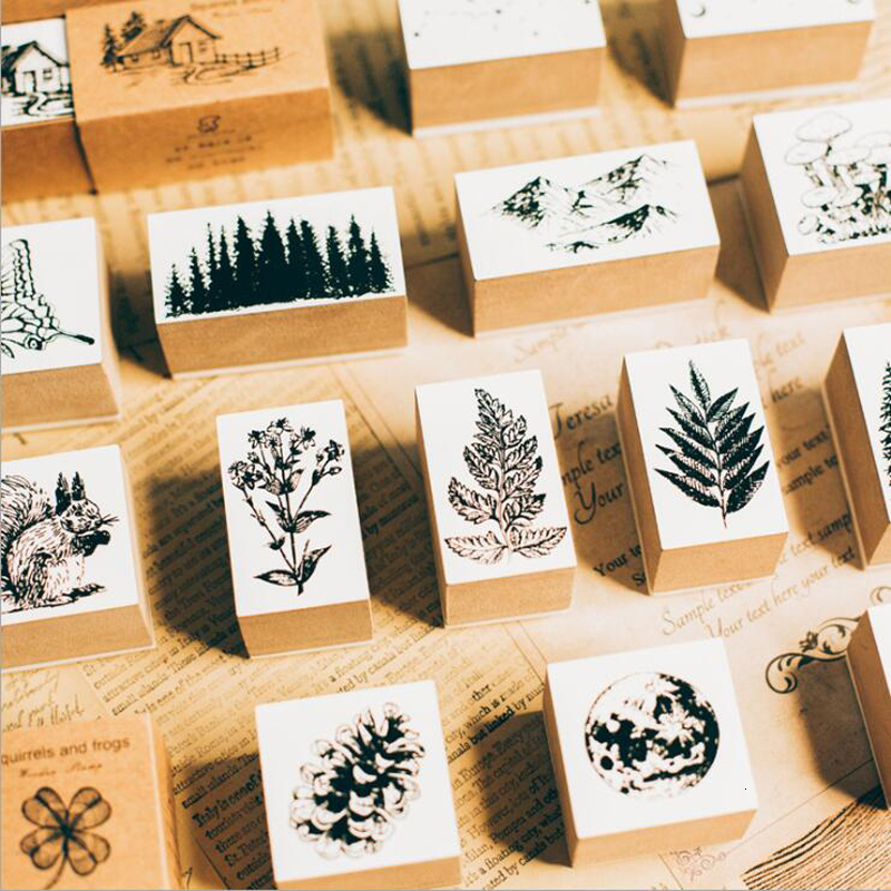 1pc Vintage Jungle Series Wood Rubber Stamps For Scrapbooking Stationery DIY Scrapbooking Standard Wooden Stamp Planner