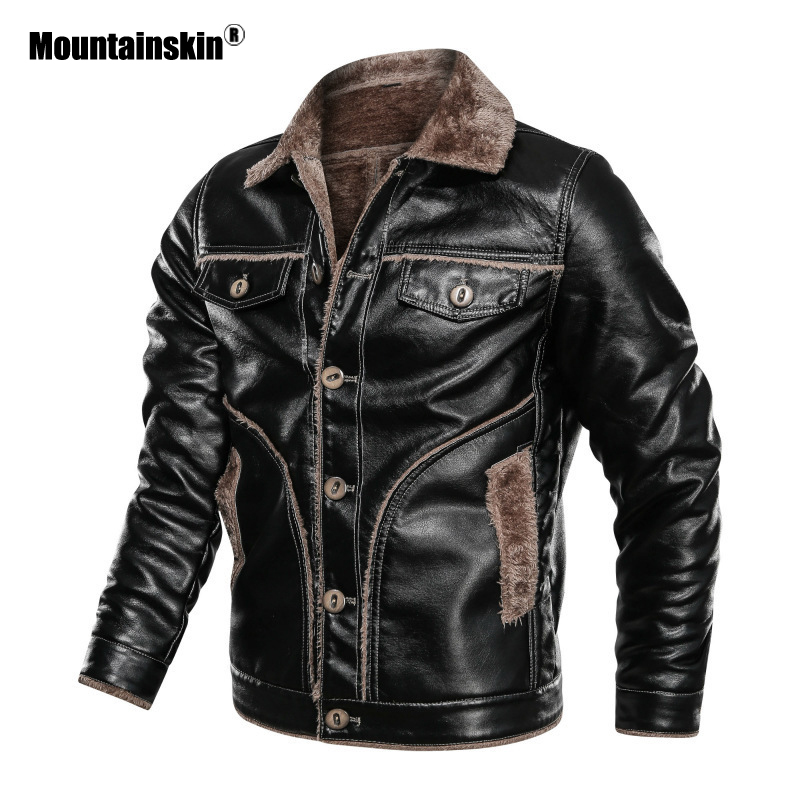 Mountainskin Winter Men's Thick PU Jacket Mens Motorcycle Leather Jacket Fleece Warm Leather Coats Male Brand Clothing SA850