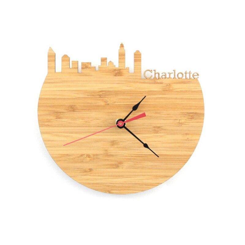 Natural Bamboo Charlotte Wall Clock Skyline Design Bamboo Wall Watch Memorial Photography Decoration Clock Modern City Clock