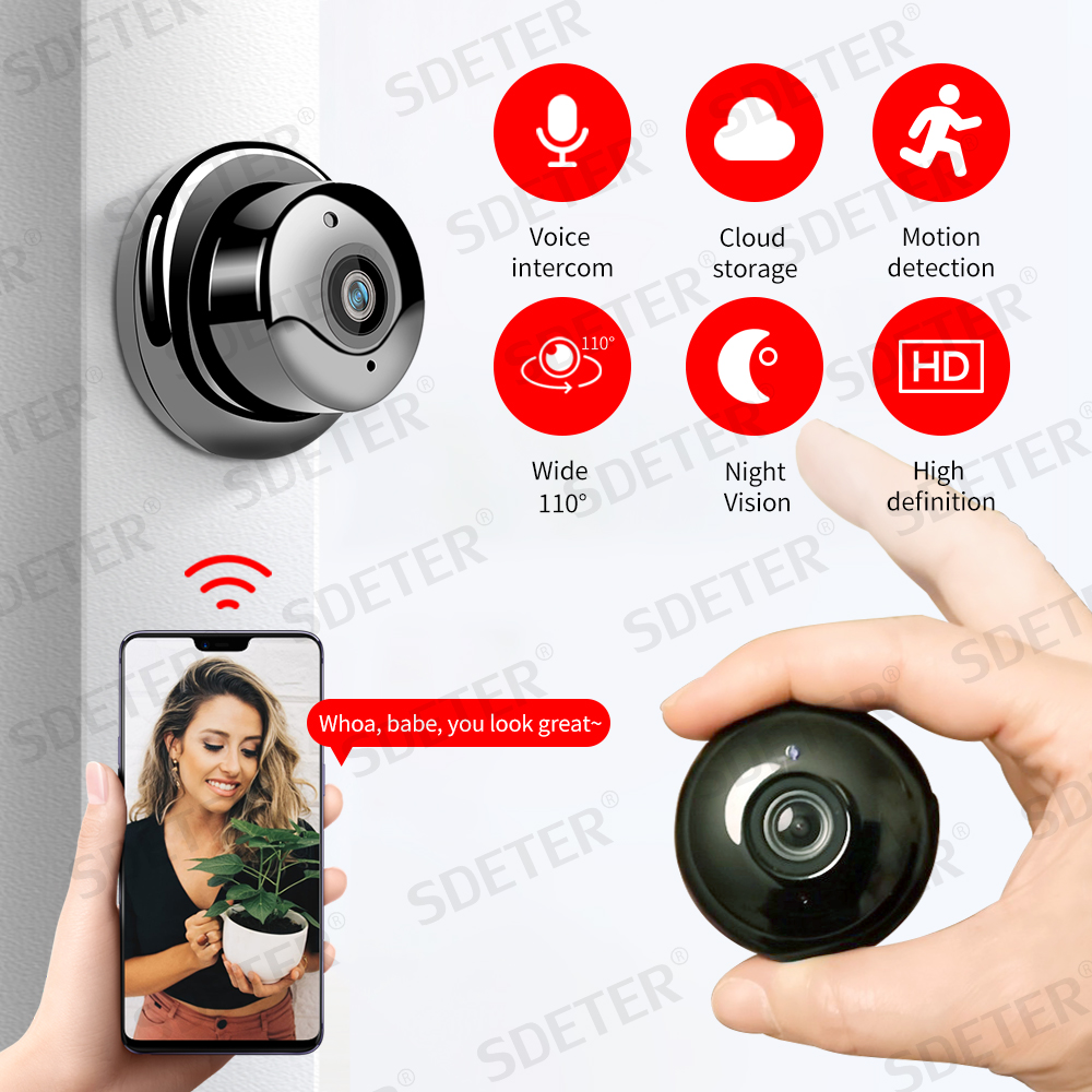 SDETER Wireless Mini WiFi Camera IP 1080P Home Security Camera CCTV Surveillance IR Night Vision Motion Detect Baby Monitor P2P