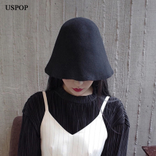 цены USPOP hats Autumn wool hats women wool bucket hats fashion campaniform bucket hats wool fedoras