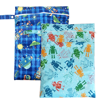 pororo Reusable Cloth Diaper Wet Dry Bags, size 30*40cm Two Zippered Waterproof Travel bag