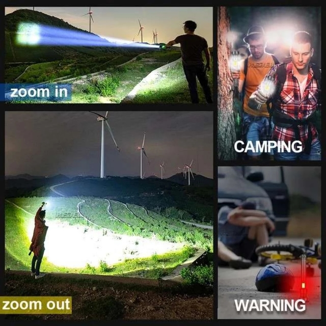 XHP160 COB Led Flashlight 18650 or 26650 Usb Tactical Flash Light XHP70.2 Rechargeable Led Lantern Zoom Hunting Bright Work Lamp 6