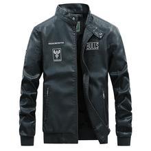 Pu Jacket Mens Leather Jackets Coats Pattern Autumn Motorcycle Men Biker Fake PU MOOWNUC