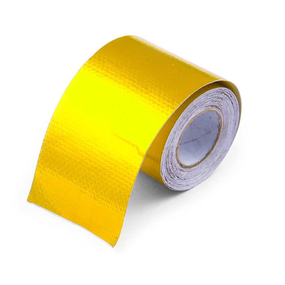 Self Adhesive Roll Gold Aluminum Foil 5m Exhaust Pipe High Temperature Heat Shield Wrap Tape Silver Reflective